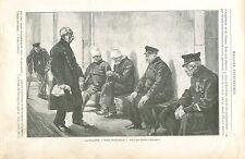 Les pensionnaires des Invalides à Paris de Paul Renouard GRAVURE OLD PRINT 1894