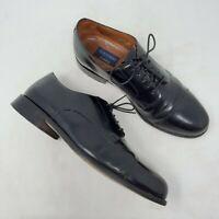 Mens Bostonian Black Leather Oxfords sz 10 M Cap Toe Lace Up Derby Dress Shoes