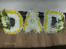 ARTIFICIAL SILK FUNERAL FLOWERS MUM or NAN LETTERS TRIBUTE WREATH