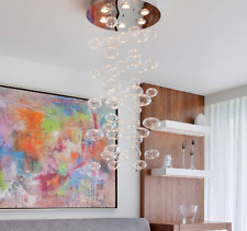 """W19.7"""" x H39"""" Modern Luxury LED Round Clear Due Bubble Glass Drop Chandelier"""