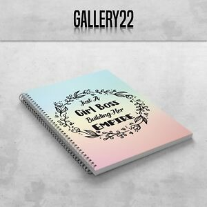 Just A Girl Boss Building Her Empire Notebook A5 Gift Stationery Notes Rainbow