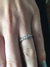 Diamond Engagement/Promise Ring 14K WG With 9 Diamonds Size 5.75