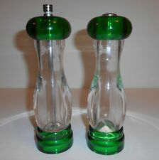 Vintage Olde Thompson Pepper Mill And Salt Shaker Acylic Clear Green Set Usa
