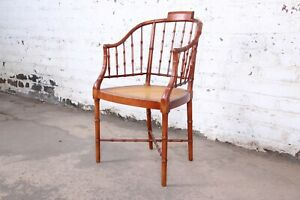 Baker Furniture Faux Bamboo and Cane Regency Armchair, 1960s