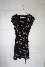 Portmans Black Floral Shift Dress w/ Tie Waist Size 8