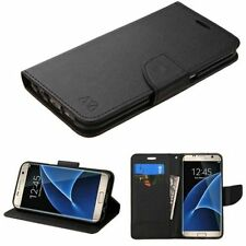 For Samsung Galaxy S7 Edge Black Leather Fabric Case w/stand w/card slot