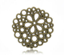 6 Round Bronze Brass Connector Charms BUBBLE FLOWER Pattern chb0228