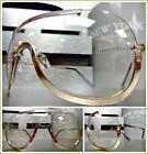 OVERSIZED VINTAGE RETRO Cool SHIELD Style Clear Lens EYE GLASSES Rose Gold Frame