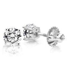 18K WHITE GOLD 1/2 cttw SOLITAIRE VS2-SI1 G-H DIAMOND STUD BASKET-SET EARRINGS