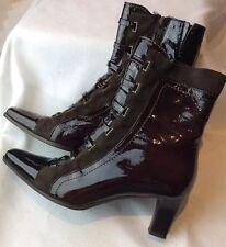 Lavorazione Artigianale Size 37 Ankle Boots Brown Patent Leather Italy  Leather