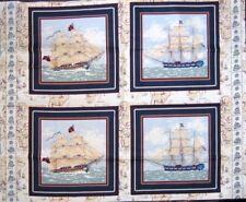 "34"" Fabric Panel - Springs CP34980 Ancient Mariners Ship Pillowcase Blocks"