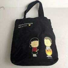Angry Little Girls Love is Friendship Set on Fire Black Tote Grocery Bag