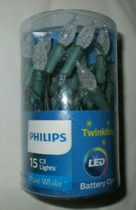 Philips 15CT C3 LED Twinkling Lights Green Wire Battery Operated Pure White
