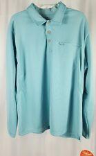 L. L. Bean Mens Sun Smart Blue Top 1/4 Button Tab Collar Long Sleeve Extra Large