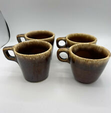 Hull Oven Proof Brown Drip Coffee Mugs Hull Usa Pottery Ceramic - Set Of 4