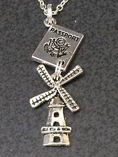 "Passport & Dutch Windmill Catherdal Charm Tibetan Silver with 18"" Necklace BIN"