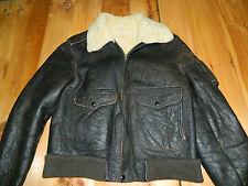 1960's Black Leather Flight Jacket Est. Size 40-42 Used - Good Condition