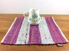 Surya Handmade Woven Table Mat, Rug Recycled Cotton, Metallic Paper 18x19� Nwt