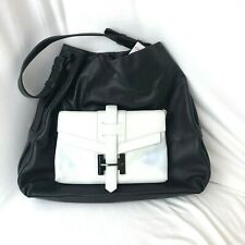 NEW 795$ Halston Heritage  leather Bucket Bag, Black White