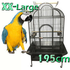 XX-Large 195cm Macaw Parrot Aviary Bird Cage Perch Open Roof On Wheels A24