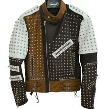 Mens cone spike 100 % pure cowhide leather jacket coat