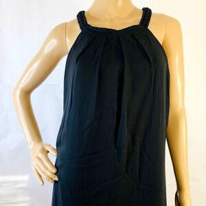Thalia Sodi L Large Black Dress Pleated Front Chiffon Lined Deep Black New