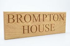 Personalised Oak House Sign, Custom Engraved Outdoor Wooden Name Plaque