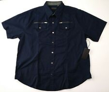 NWT Steve's Jeans Men's Blue Short Sleeve Button-Front Shirt Size 2XL