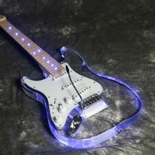 Left Hand ST Electric Guitar Acrylic Body Blue LED Light Tremolo Bridge Crystal