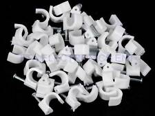 500pcs White Coax Cable Wire Clips Plastic Body Steel Nail RG6 RG59 Installation