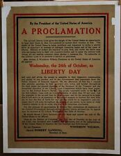 Original linen-backed WW1 A PROCLAMATION from PRESIDENT  WOODROW WILSON '17