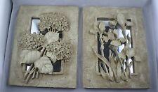 Set of 2 Mirror Flower Wall Plaques,Garden ,Botanical, Iris, Hydrangea, 3D Decor