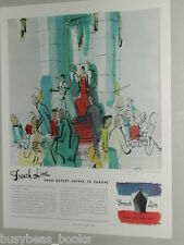 1950 French Line advertisement, Gay Entrée, painting by J. Pagès