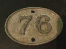"Vintage cast metal  number disc nr 76 door  shed gate 3"" 75mm wide"