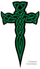 LARGE CELTIC CROSS DAGGER iron-on PATCH embroidered IRISH RELIGIOUS GREEN EMBLEM