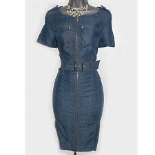 Karen Millen Blue Tencel Denim Front Zip Office Shift Pencil Day Dress UK-10 38