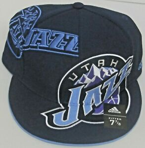 NBA Utah Jazz Blue Structured Flat Bill Fitted Hat By adidas, Size 7 7/8