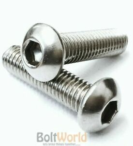 M12 / 12mm A2 STAINLESS STEEL SOCKET BUTTON / DOME HEAD ALLEN SCREWS BOLTS BW