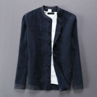 Men Cotton Linen Jacket Retro Long Sleeve Shirt Mandarin Collar Frog Button Coat