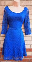 NEW LOOK FLORAL BLUE LACE SKATER FLIPPY A LINE HALF BACKLESS FLIPPY TEA DRESS 12