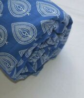 Indian Hand Block Print Cotton Natural Handmade Leaf & Leaf Fabric Blue 3 Yard
