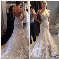 Spaghetti Women Mermaid Wedding Dress Custom Flower Appliques Lace Bridal Gown