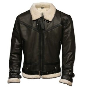 VINTAGE GREEN BOMBER JACKET B7 LEATHER WITH FAUX FUR