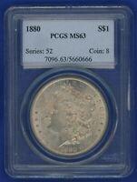 1880 P PCGS MS63 Morgan Silver Dollar $1 Better Date 1880-P PCGS MS-63