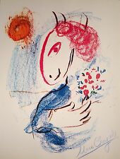 MARC CHAGALL HAND SIGNED SIGNATURE * DONKEY WITH FLOWERS * PRINT W/ C.O.A.