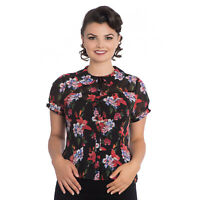 Hell Bunny Rayna Red Floral Retro Vintage 1950S Chiffon Short Sleeve Blouse Top