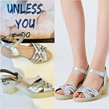 "Topshop Plait Silver Metallic Pewter Shine Clear Heels 3"" Sandals Size 4 37"