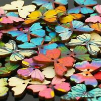 50Pcs Mixed Bulk 2 Holes Butterfly Phantom Wooden Sewing Buttons Scrapbook Best
