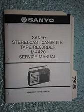 New listing Sanyo m4420 m-4420 service manual original repair book cassette tape recorder