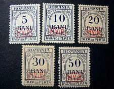 "GERMANY GERMANIA REICH 1918 1 WW Oc. Romania "" Segnatasse svr "" 5V.cpl set MH/US"